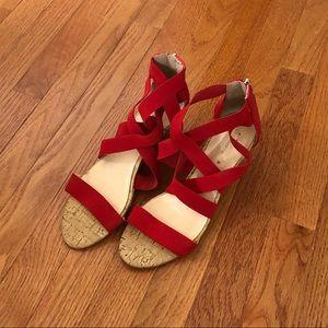 Liz Claiborne strappy elastic red wedges